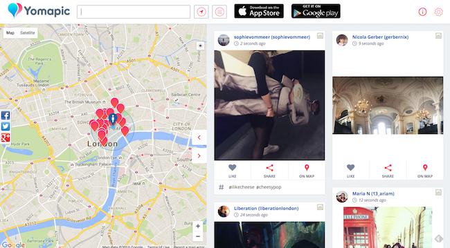 Screenshot von Yomapic zeigt Instagram-Posts mit Geotags rund um das Gebiet um den Covent Garden