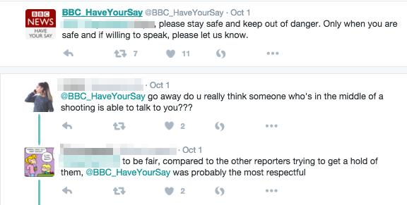 Wie BBC auf Twitter zu einem Zeugen zum UCC Schießen ausholte